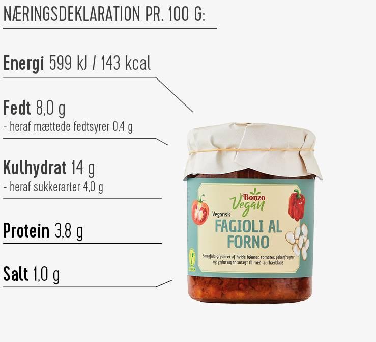 Fagioli al forno næringsdeklaration