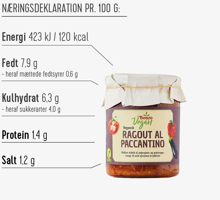 Ragout al Paccantino næringsdeklaration