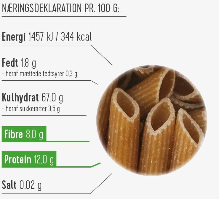 Fuldkornspasta næringsdeklaration