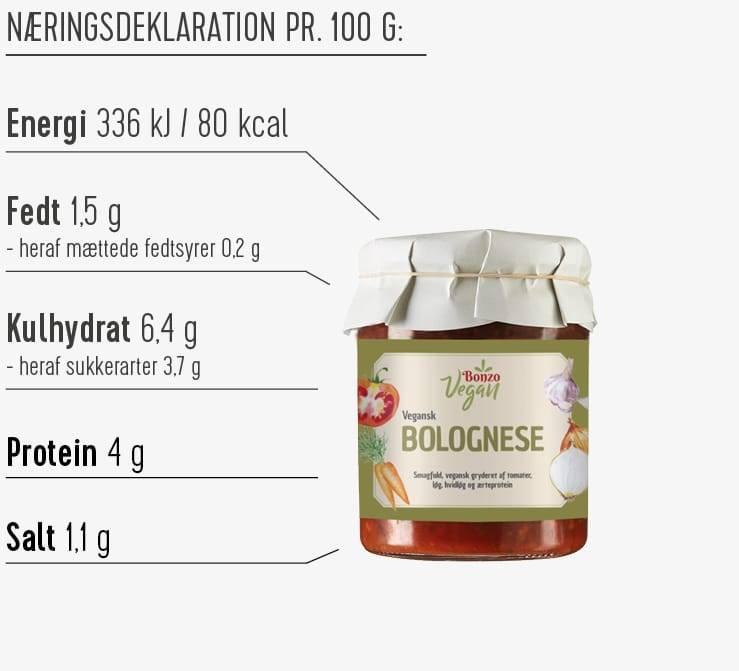 Næringsdeklaration vegansk bolognese